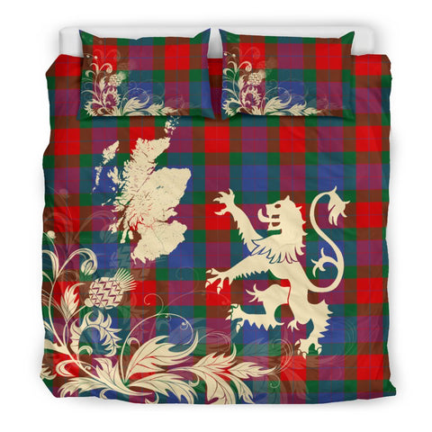 Tartan Bedding Set, Mar Scotland Lion Thistle Map Scottish Printed Bedding Set A9