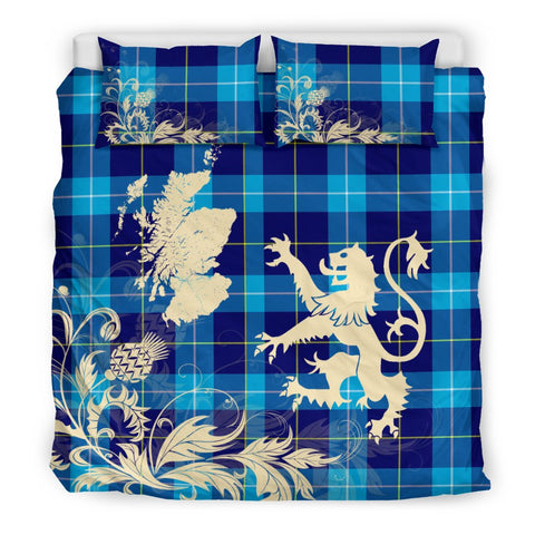 Tartan Bedding Set, McKerrell Scotland Lion Thistle Map Scottish Printed Bedding Set A9