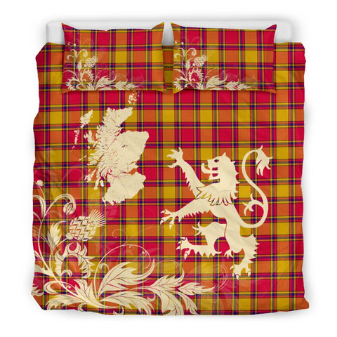 Image of Tartan Bedding Set, Scrymgeour Scotland Lion Thistle Map Scottish Printed Bedding Set A9