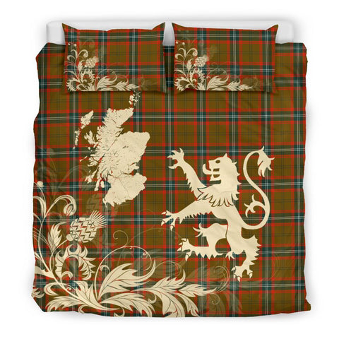 Tartan Bedding Set, Seton Hunting Modern Scotland Lion Thistle Map Scottish Printed Bedding Set A9