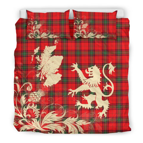 Tartan Bedding Set, Seton Modern Scotland Lion Thistle Map Scottish Printed Bedding Set A9