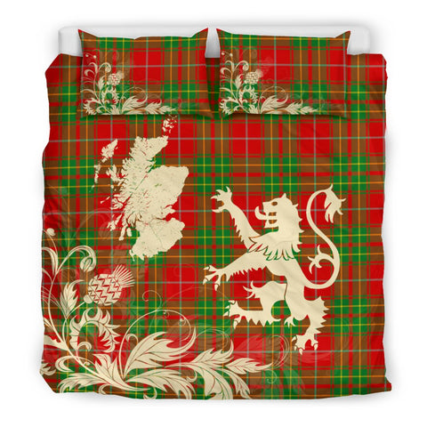 Tartan Bedding Set, Burnett Ancient Scotland Lion Thistle Map Scottish Printed Bedding Set A9