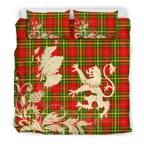 Tartan Bedding Set, Leask Scotland Lion Thistle Map Scottish Printed Bedding Set A9