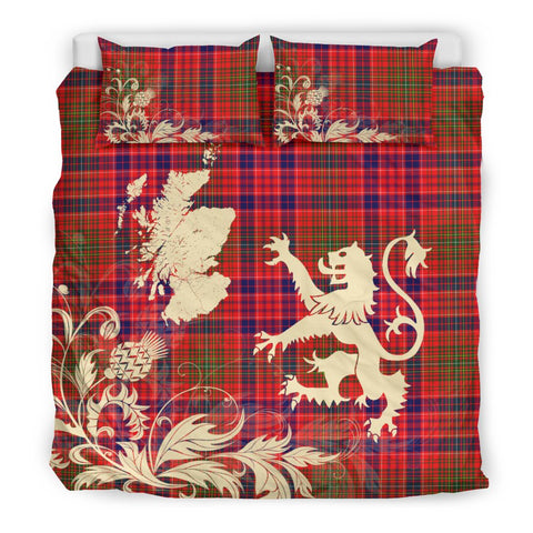 Image of Tartan Bedding Set, Lumsden Modern Scotland Lion Thistle Map Scottish Printed Bedding Set A9