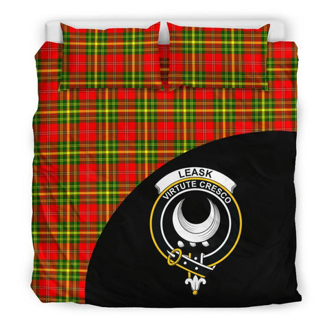 Leask Tartan Clan Badge Bedding Set Wave Style