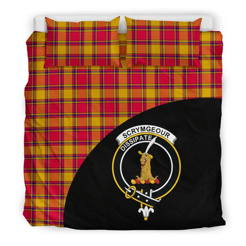 Scrymgeour Tartan Clan Badge Bedding Set Wave Style