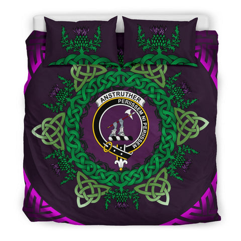 Anstruther Crest Scottish Thistle Celtic Purple Scotland Bedding Set | Love Scotland