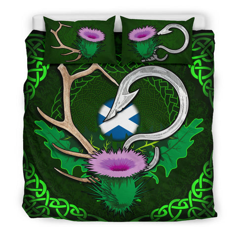 Scotland Bedding Set Celtic Thistle Hunting Fish Hook and Antler