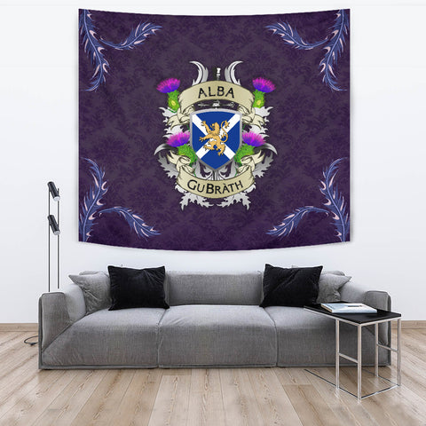 Image of Scotland Tapestry - Scotland Forever Flag Lion Thistle Purple (Alba GuBràth) A02