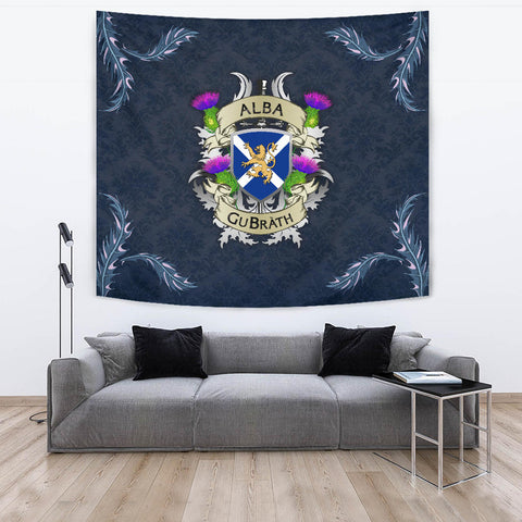Image of Scotland Tapestry - Scotland Forever Flag Lion Thistle (Alba GuBràth) A02