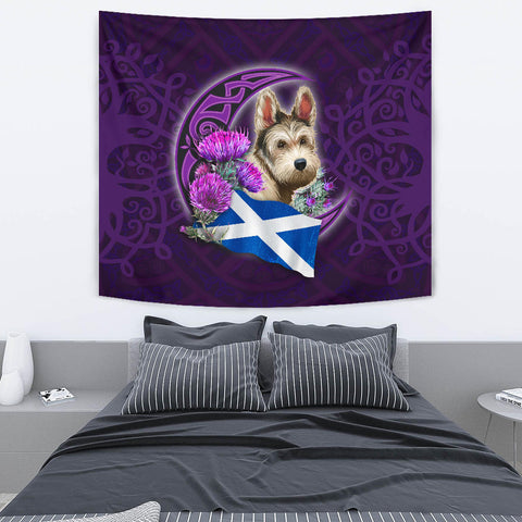 Scotland Tapestry Celtic Tree Of Life - Scottish Terrier And Thistle Moon Celtic A18
