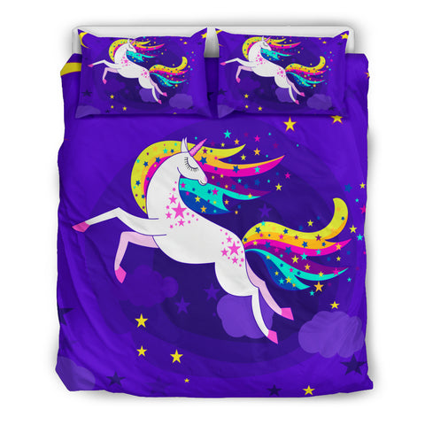 Unicorn Fly In The Sky Bedding Set (Black) | HOT Sale