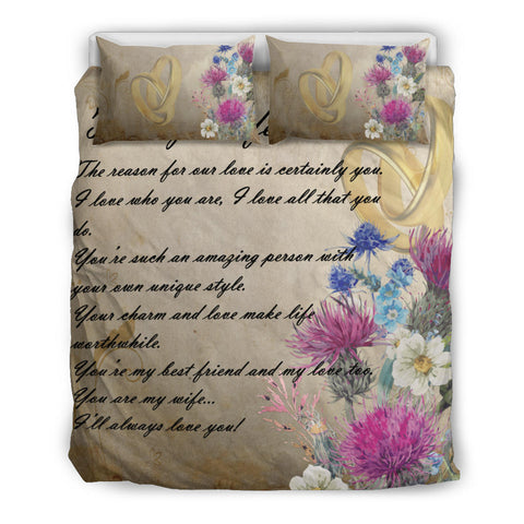 Image of Scotland Bedding Set - Valentine To My Wife Thistle | Love Scotland