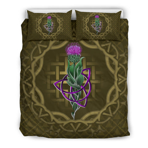 Image of Scotland Bedding Set - Thistle Celtic Knot Circle Frame | Love Scotland