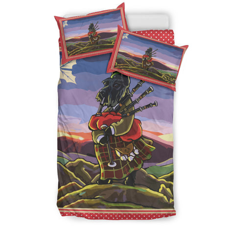 Scottie Piper & Landscape(Black) - Scotland Bedding Set | HOT SALE