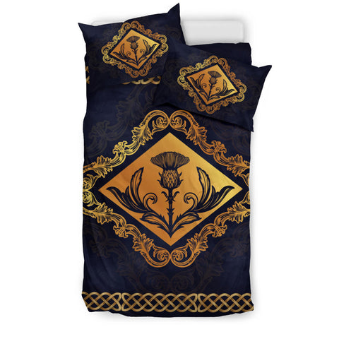 Dark Gold Thistle and Celtic - Scotland Bedding Set | Love Scotland
