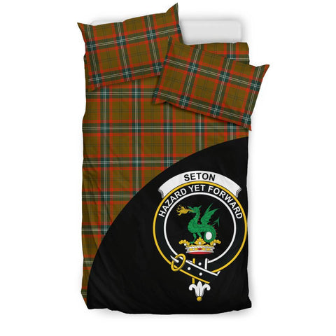 Tartan Bedding Set, Seton Hunting Modern Wave Style Scottish Printed Bedding Set A9