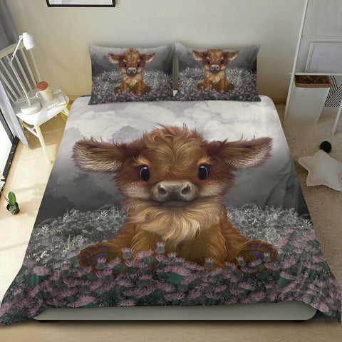 Scotland Bedding Set, Highland Cow Calf Thistle Duvet Cover And Pillow Case A24