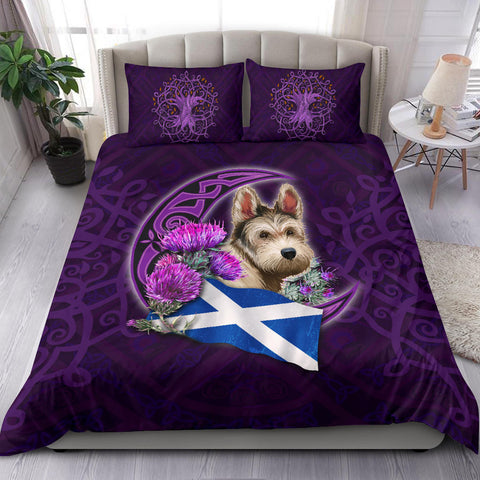 Scotland Bedding Set - Scottish Flag Terrier And Thistle Moon Celtic A18