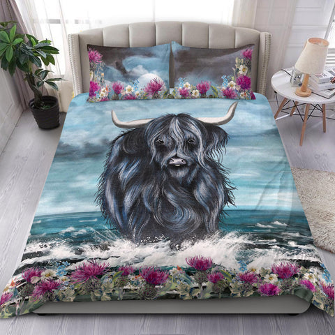 Scotland Bedding Set - Highland Cow And Thistle A10
