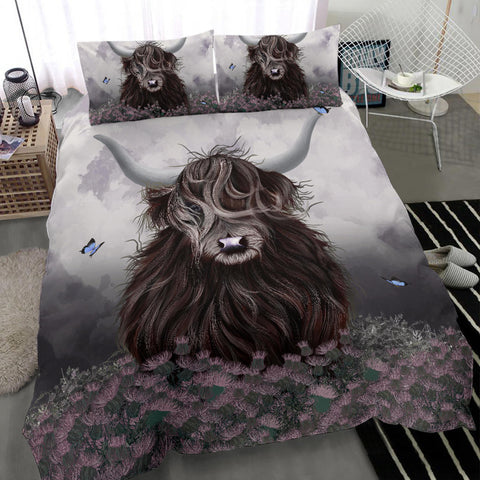 Scotland Bedding Set - Highland Cow Thistle A24