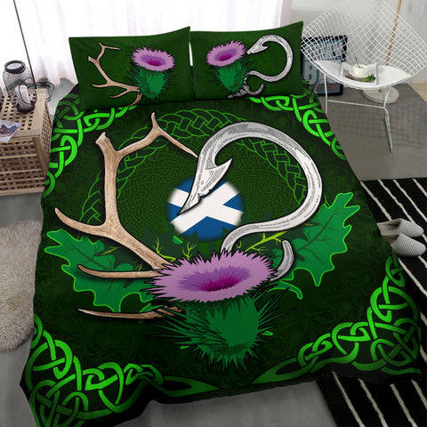 Scotland Bedding Set Celtic Thistle Hunting Fish Hook and Antler A18