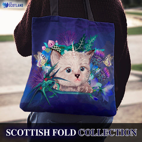 Scotland Tote Bag - Scottish Fold Unicorn Horn And Bluebell Thistle A18