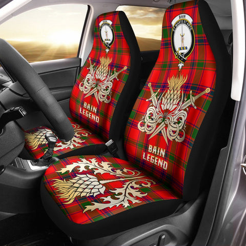 Car Seat Cover Bain Clan Crest Gold Thistle Courage Symbol