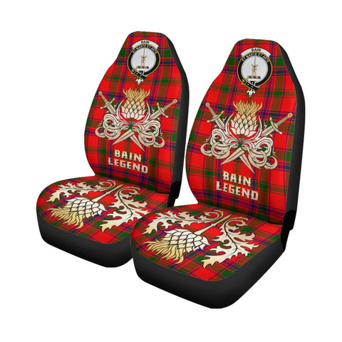 Tartan Car Seat Cover, Bain Clan Crest Gold Thistle Courage Symbol Scottish Car Seat Cover A9