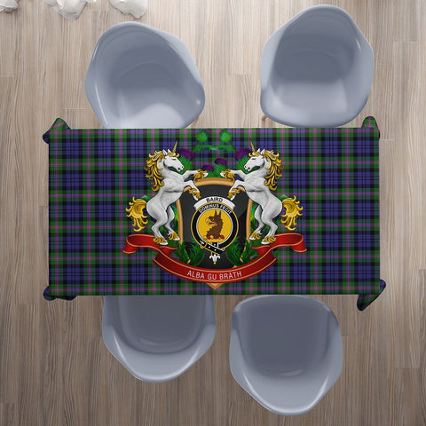 Baird Modern Crest Tartan Tablecloth Unicorn Thistle | Home Decor
