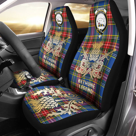 Car Seat Cover Bethune Clan Crest Gold Thistle Courage Symbol