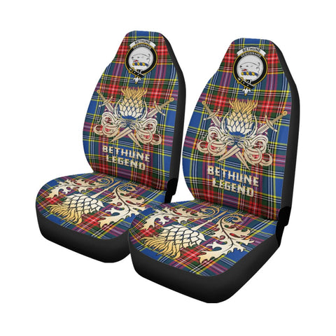 Tartan Car Seat Cover, Bethune Clan Crest Gold Thistle Courage Symbol Scottish Car Seat Cover A9