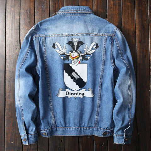 Binning Family Crest Denim Jacket | Over 1200 Crests | Fast International Shipping