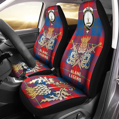 Car Seat Cover Blane Clan Crest Gold Thistle Courage Symbol