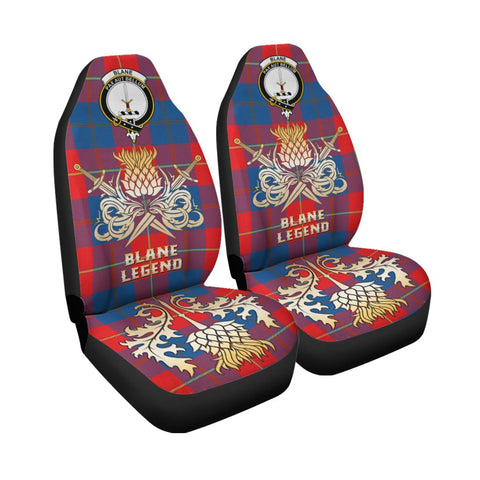 Tartan Car Seat Cover, Blane Clan Crest Gold Thistle Courage Symbol Scottish Car Seat Cover A9