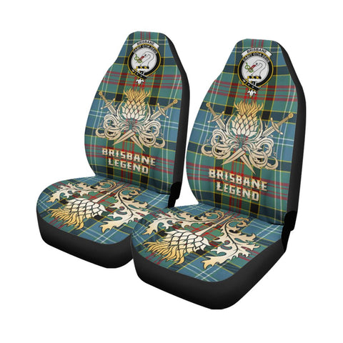 Tartan Car Seat Cover, Brisbane modern Clan Crest Gold Thistle Courage Symbol Scottish Car Seat Cover A9