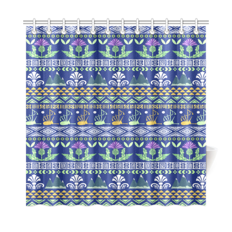 Blue Thistle Pattern - Shower Curtain | HOT SALE