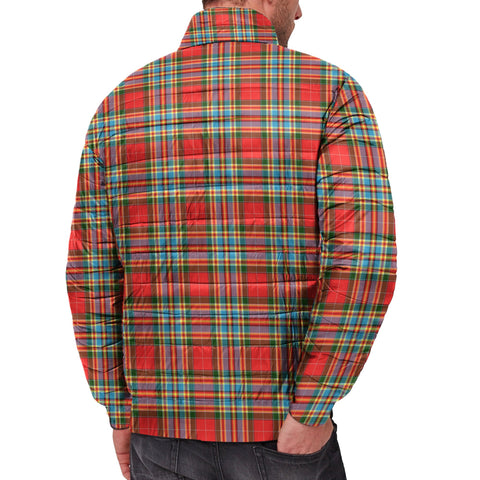 Image of Tartan Padded Jacket -  Chattan Scottish Stand Collar Padded Jacket A7