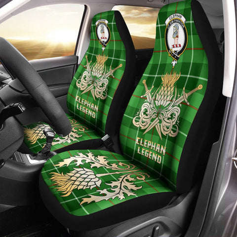 Car Seat Cover Clephan Clan Crest Gold Thistle Courage Symbol