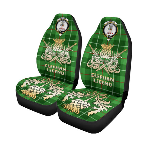 Tartan Car Seat Cover, Clephan Clan Crest Gold Thistle Courage Symbol Scottish Car Seat Cover A9