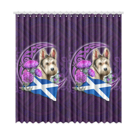 Scotland Window Curtain Celtic Tree Of Life - Scottish Terrier And Thistle Moon Celtic A18