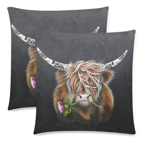 Scotland Zippered Pillow Cases - Thistle Highland Cow | Love Scotland