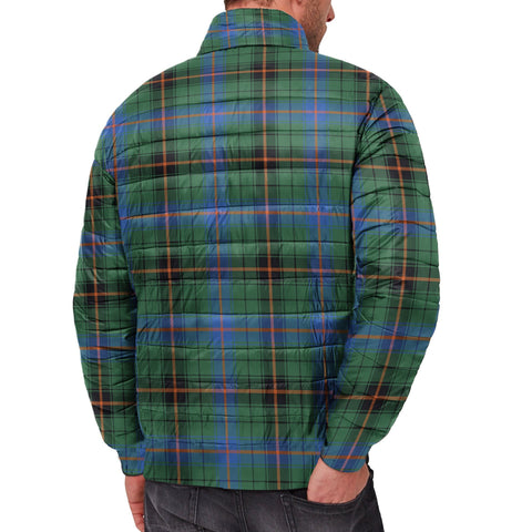 Tartan Padded Jacket -  Davidson Ancient Scottish Stand Collar Padded Jacket A7