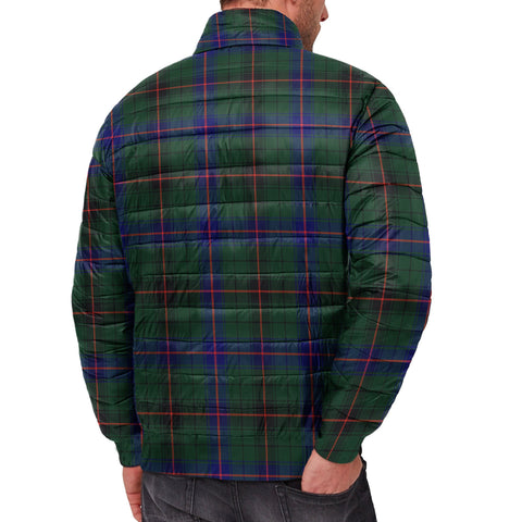 Tartan Padded Jacket -  Davidson Modern Scottish Stand Collar Padded Jacket A7