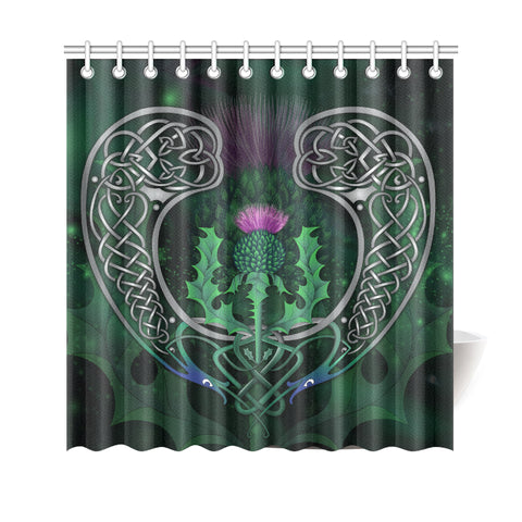 Image of Scotland Shower Curtain - Celtic Thistle Green | Love Scotland