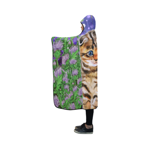 Scottish Fold Cat And Thistle - Hooded Blanket | HOT Sale