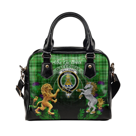 Galloway District Crest Tartan Lion Unicorn Thistle Shoulder Handbag