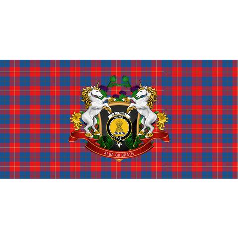 Tartan Tablecloth, Galloway Red Unicorn Thistle Scottish Tablecloth A30
