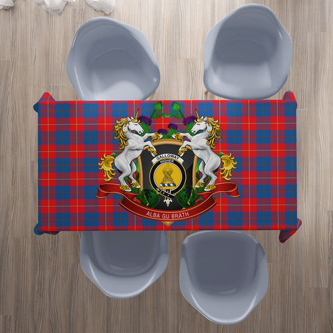 Galloway Red Crest Tartan Tablecloth Unicorn Thistle | Home Decor