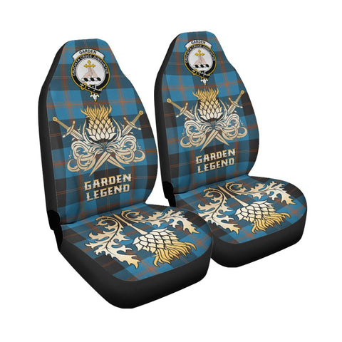 Tartan Car Seat Cover, Garden Clan Crest Gold Thistle Courage Symbol Scottish Car Seat Cover A9